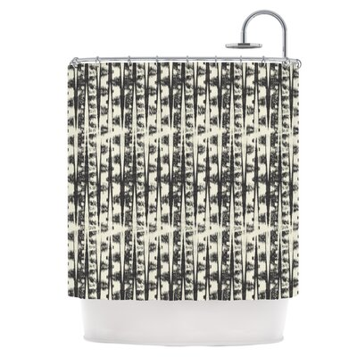 Black Cream Abstract Shower Curtain