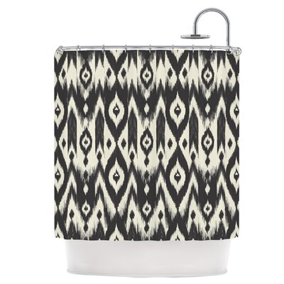 Black Cream Tribal Ikat Shower Curtain