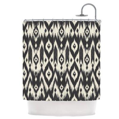 Black Cream Tribal Ikat Shower Curtain
