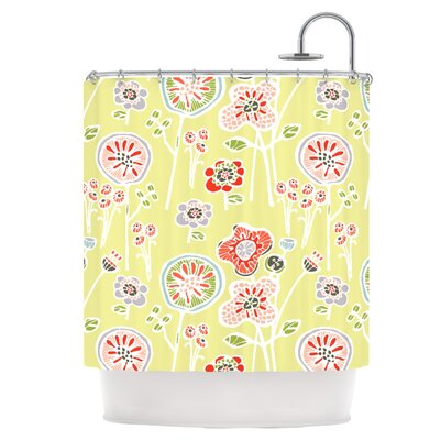 Folky Floral Lemon Shower Curtain