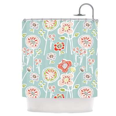 Folky Floral Light Jade Shower Curtain