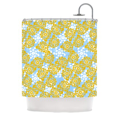 Blue and Yellow Flowers Alternate Shower Curtain