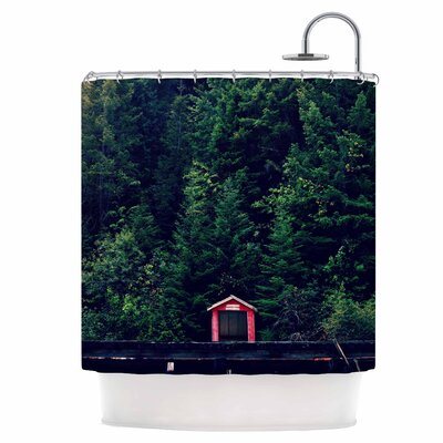 Red in Woods Shower Curtain