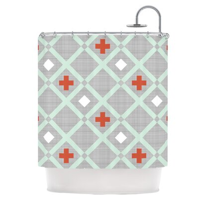 Mint Lattice Shower Curtain