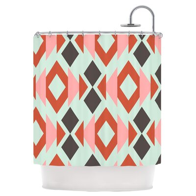 Coral Mint Triangle Weave Shower Curtain