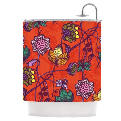 Garden Blooms Hot Orange Shower Curtain