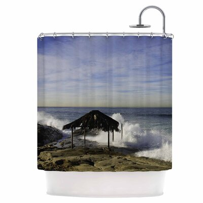 Hut with Crashing Waves Shower Curtain