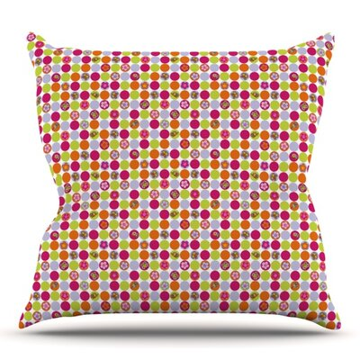Happy Circles by Julia Grifol Outdoor Throw Pillow