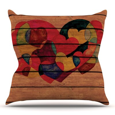 Wooden Heart by Louise Machado Outdoor Throw Pillow