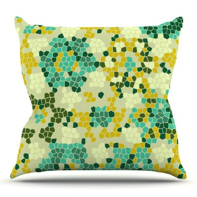 Flower Garden Mosaic by Laura Nicholson Outdoor Throw Pillow