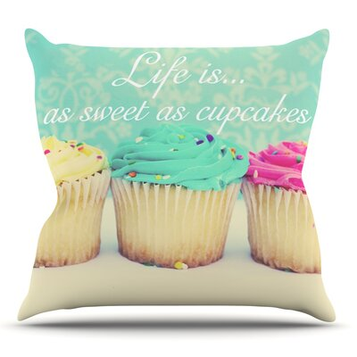 Life Is As Sweet As Cupcakes by Beth Engel Outdoor Throw Pillow