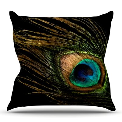 Peacock by Alison Coxon Outdoor Throw Pillow