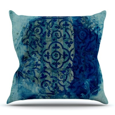 Mosaic in Cyan by Frederic Levy-Hadida Outdoor Throw Pillow