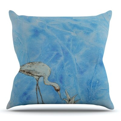 Crane by Kira Crees Outdoor Throw Pillow