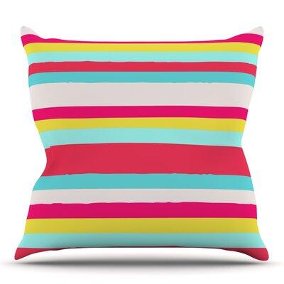 Girly Surf Stripes by Nika Martinez Outdoor Throw Pillow