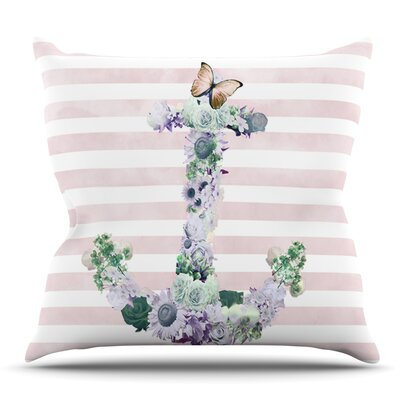 Floral Anchor by Nika Martinez Outdoor Throw Pillow