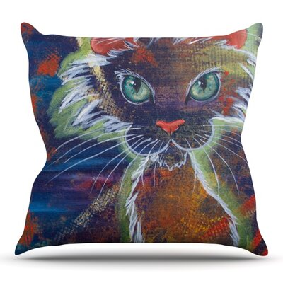 Rave Kitty by Padgett Mason Outdoor Throw Pillow