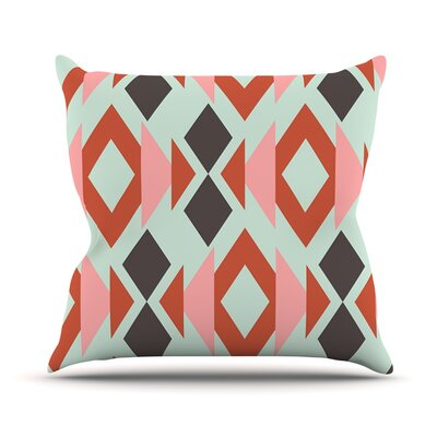 Coral Mint Triangle Weave Outdoor Throw Pillow