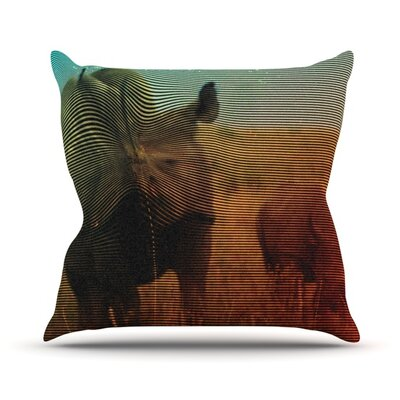 Abstract Rhino by Danny Ivan Outdoor Throw Pillow