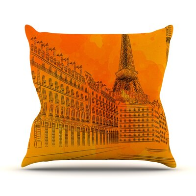 Parisian Sunsets by Fotios Pavlopoulos Outdoor Throw Pillow