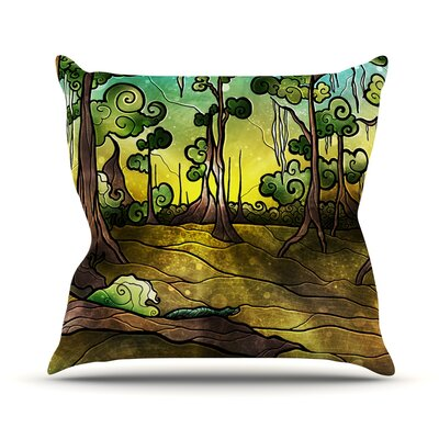 Aligator Swamp by Mandie Manzano Outdoor Throw Pillow
