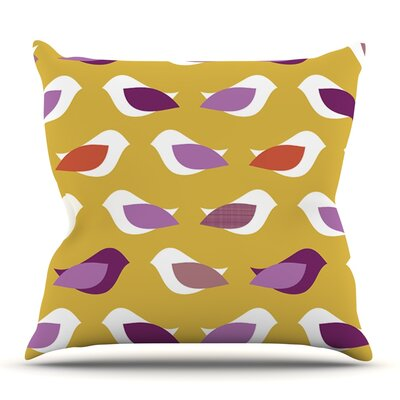 Golden Orchid Birds by Pellerina Design Outdoor Throw Pillow
