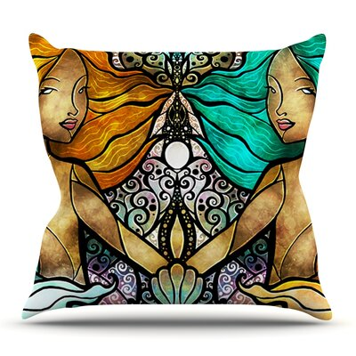 Mermaid Twins by Mandie Manzano Outdoor Throw Pillow