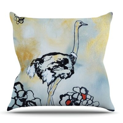 Ostrich by Sonal Nathwani Outdoor Throw Pillow