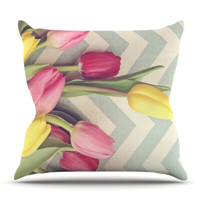 Tulips and Chevrons by Catherine McDonald Outdoor Throw Pillow