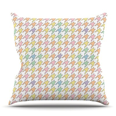 Pastel Houndstooth by Empire Ruhl Outdoor Throw Pillow