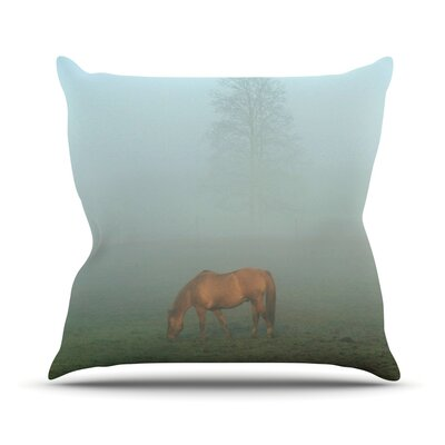 Horse in Fog Outdoor Throw Pillow