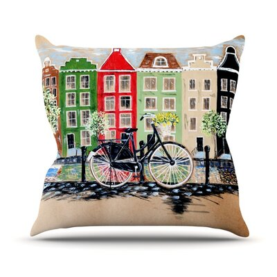 Bicycle by Christen Treat Outdoor Throw Pillow