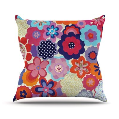Patchwork Flowers Outdoor Throw Pillow