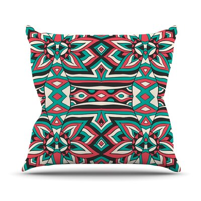 Ethnic Floral Mosaic by Pom Graphic Design Outdoor Throw Pillow