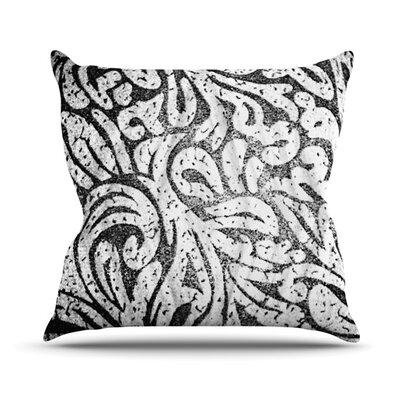Monochrome Paisley Outdoor Throw Pillow