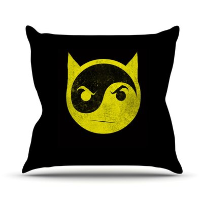 Bat Yin Yang Outdoor Throw Pillow