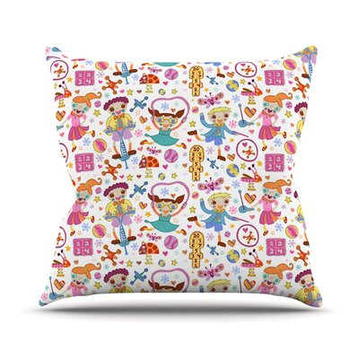 Vintage Playground IIII by Jane Smith Outdoor Throw Pillow