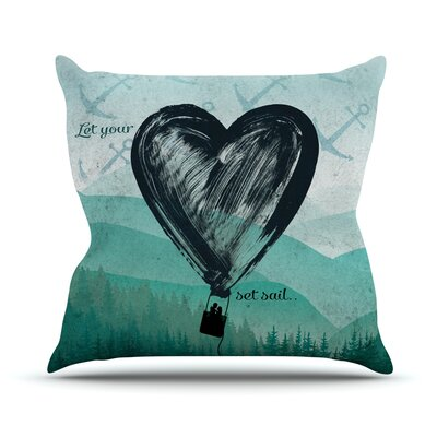 Heart Set Sail by Nick Atkinson Outdoor Throw Pillow