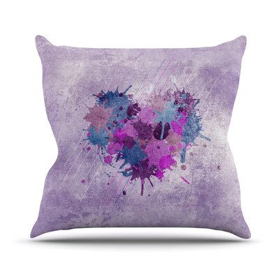 Painted Heart Outdoor Throw Pillow