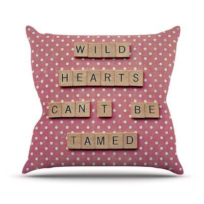 Wild Hearts Cant Be Tamed by Nastasia Cook Dots Cotton Blend Throw Pillow Size: 20 H x 20 W x 4 D