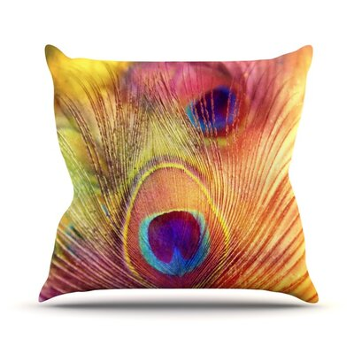Peacock Feather by Sylvia Cook Outdoor Throw Pillow