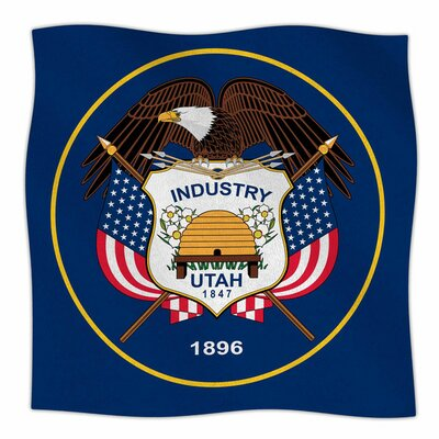 Utah State Flag Authentic by Bruce Stanfield Fleece Blanket Size: 80'' L x 60'' W
