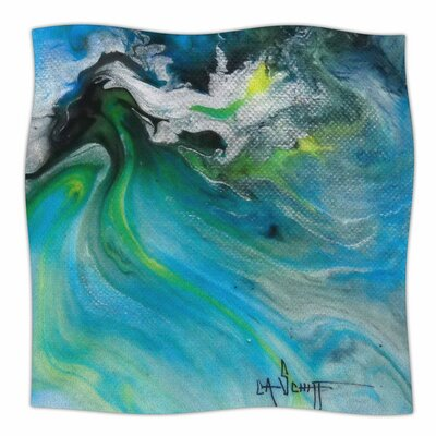 Turquoise And Green Abstract by Carol Schiff Fleece Blanket Size: 80 L x 60 W