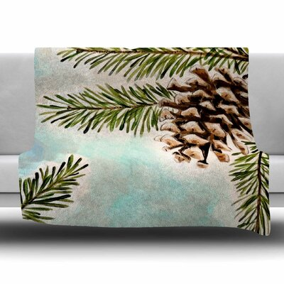 Pinecones and Sky by Christen Treat Fleece Blanket
