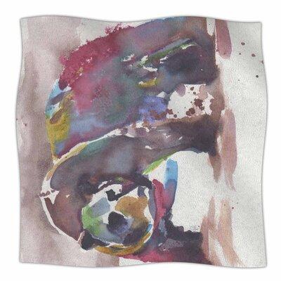 Grizzly Bear Watercolor by Rebecca Bender Fleece Blanket