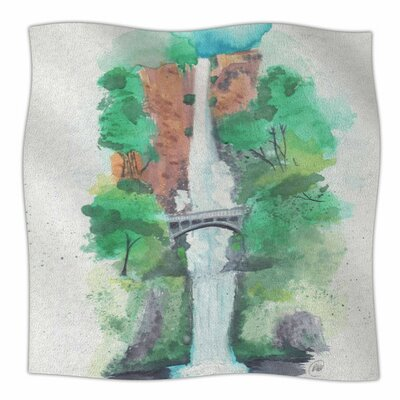 Multnomah Falls Watercolor by Rebecca Bender Fleece Blanket