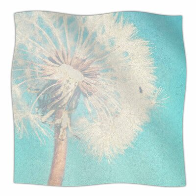 Aqua Dandelion by Sylvia Coomes Fleece Blanket