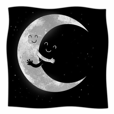 Moon Hug by Digital Carbine Fleece Blanket