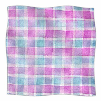 Watercolour Checked Tartan Sin by Michelle Drew Fleece Blanket Size: 60 L x 50 W