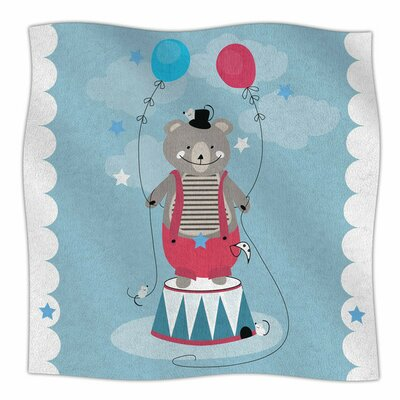 Circus Bear by Michelle Drew Fleece Blanket Size: 40 L x 30 W